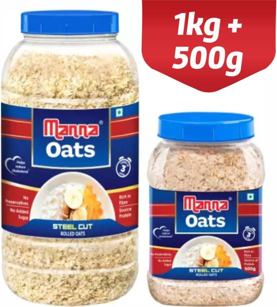 Manna Oats - 1.5kg (1kg x 1 Jar and 0.5kg x 1 Jar) | Gluten Free Steel Cut Rolled Oats | High in Fibre & Protein | 100% Natural | Helps Maintain Cholesterol. Good for Diabetics