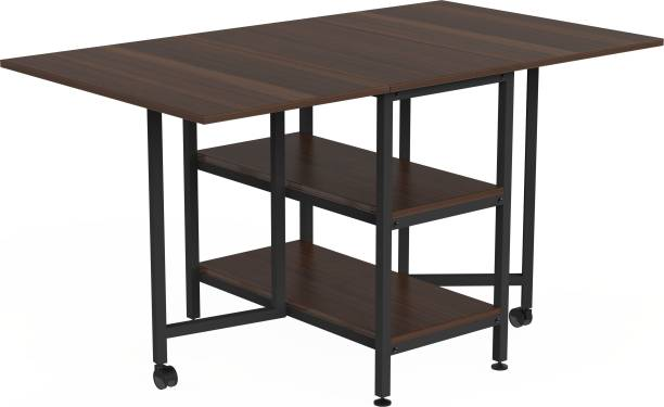 InnoFur Forio Folding Dining Table with Storage Engineered Wood 4 Seater Dining Set