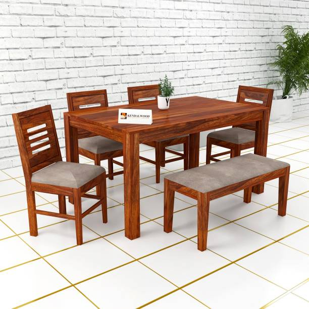 Kendalwood Furniture Premium Dining Room Furniture Wooden Dining Table with 4 Chairs & 1 Bench Solid Wood 6 Seater Dining Set
