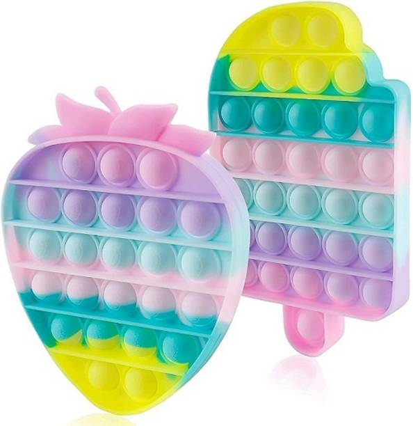 INDOVSION pop it Push Pop ITS Bubble Sensory Fidget Toy,Stress Relief and Anti-Anxiety Tools It Silicone -Relief Items Popper Educational ADHD Special Needs ,Set its pop it Toys (CANDY+STRAWBERRY) Gag Toy