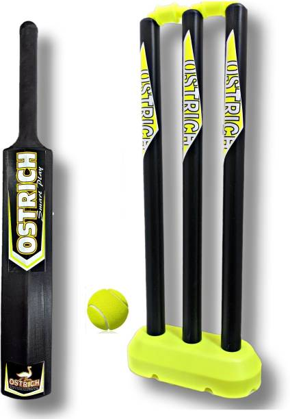 Ostrich HARD PLASTIC CRICKET COMBO PACK FOR 8 YEARS JUNIOURS( 1 BAT SIZE 3, WICKET 24'' INCHES , 1 BALL) Cricket Kit