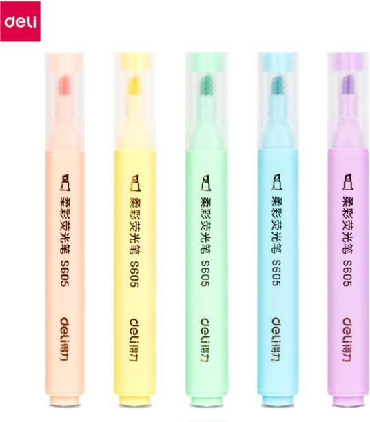 Deli 4 Bright Color Marker Highlighter Pen, Low Odor, Non-Toxic, Dry Fast, Chisel Tip: 1-4mm, Highlighter for Students, Aspirants, Artist, Textliner Office Assorted Highlighter