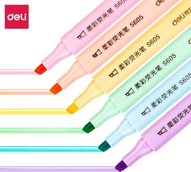 Deli 6 Bright Color Marker Highlighter Pen, Low Odor, Non-Toxic, Dry Fast, Chisel Tip: 1-4mm, Highlighter for Students, Aspirants, Artist, Textliner Office Pink, Red, Green, Yellow, Blue, Purple Highlighter
