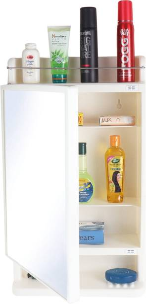CIPLA PLAST Strong and Heavy Rich Look Storage Cabinet with Mirror- Ivory- Polypropylene Wall Shelf