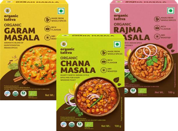 Organic Tattva North-Indian Organic Masala Combo (Rajma Masala, Chana Masala & Garam Masala) - 300 Gram | Rich in Flavour, Dry Roasted and Made from Whole Spices | Authentic and Aromatic Spice Blend |
