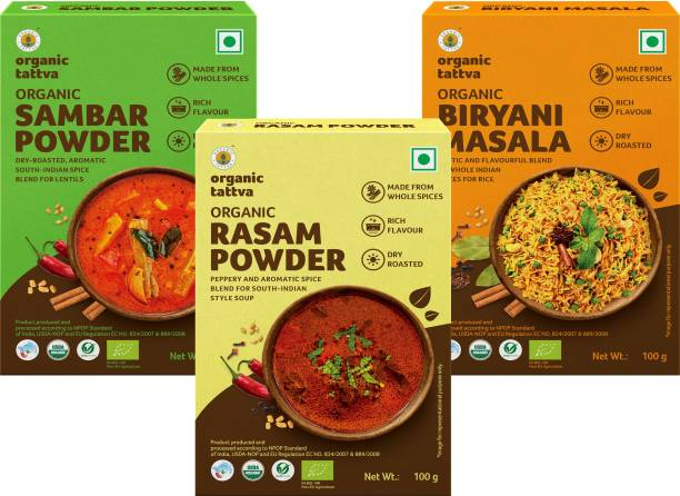Organic Tattva South-India Organic Masala Combo (Sambhar Powder, Rasam and Biryani Masala) - 300 Gram | Rich in Flavour, Dry Roasted and Made from Whole Spices | Authentic and Flavourful Spice Blend |