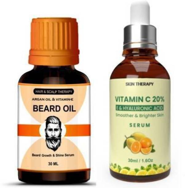 Manarya Sun's Heart Premium Combo Of Powerfull oil Argan Enriched Beard Oil & Vitamin C 20% Face Serum with Niacinamide (2 Items in the set)