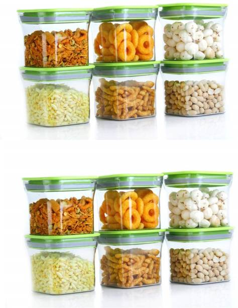 Flipkart SmartBuy Kit Kat Container Plastic Tight Unbreakable Square Storage Box/Cereal Dispenser Jar (Pack of 12)  - 600 ml Plastic Grocery Container