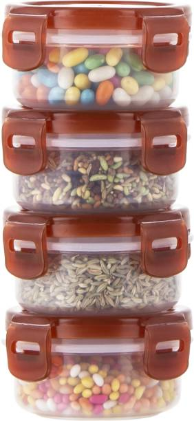 POLYSET Super Locked Round Container 130ML Brown Lid - White Bottom ,  - 130 ml Plastic Utility Container