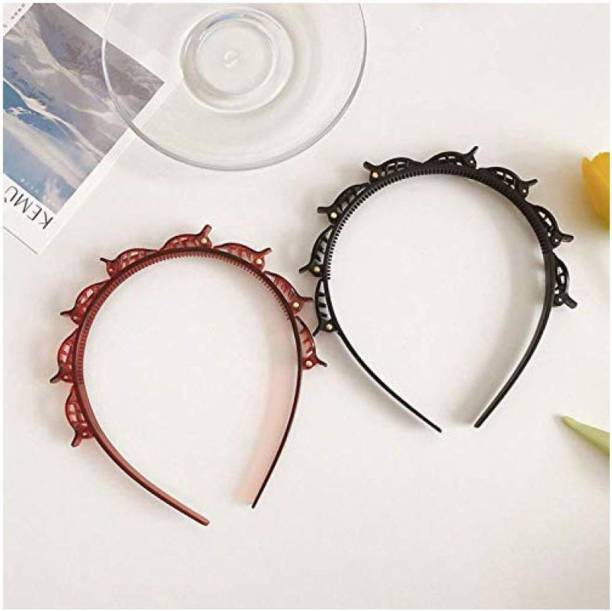 Iskrra Double Layer Hairband Twist Plait Headband Hairpin Double Bangs Hairstyle Hair Tools With Teeth Comb Black & Brown Hairbands for Women Girls Hair Accessories (Pack of 2) Hair Band
