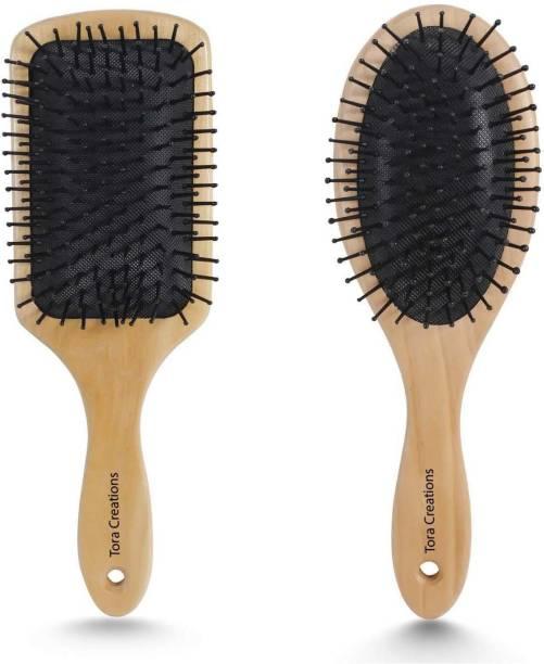 Tora Creations Wooden Hair Brush Combo for Hair Styling & Detangling