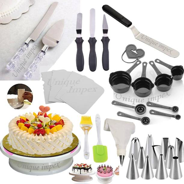 Unique Impex Cake Tools Round Easy Rotate Turntable + 8-Pc Black Measuring Cups + Silicone Spatula and Brush Set + 4 Pcs Set Scraper + 12 Piece Cake Decorating Set + Acrylic Handle Knife and Server Set + 1 Pc Angular knife-13 inch / 3 Pcs Multi-Function Stainless Steel Cake Icing Spatula Knife (All Product Reusable & Washable) Multicolor Kitchen Tool Set