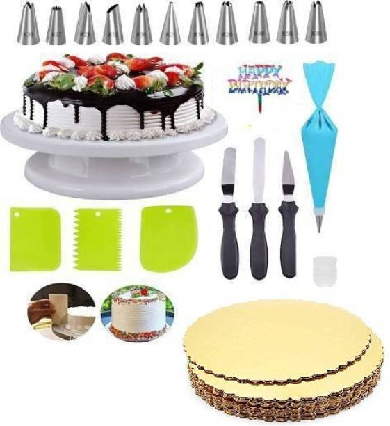 SHREE SADGURU CREATION CAKE DECORATING ITEMS014 Cake Decorating Stand with 3pcs Plastic Scraper,3-in-1 Multi-Cake Icing Spatula Knife with 12 Piece Cake Decorating Nozzles Set AND 1 CAKE BASE BOARD ,1 BIRTHDAY TAG FREE Kitchen Tool Set Multicolor Kitchen Tool Set