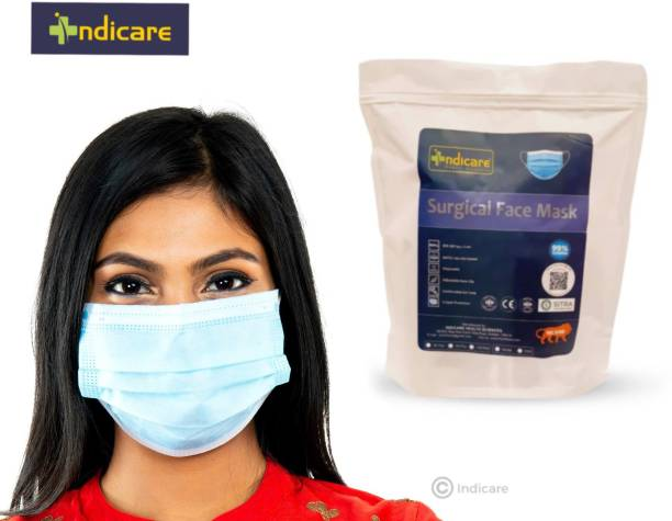 indicare health sciences 3 Ply Surgical Mask   Anti-Pollution   3 Ply Surgical Mask with Nose pin   Disposable Mask   SITRA, ISO 9001:2015, ISO 13485:2016, CE Certified (Pack of 100, Free Size, INDIVIDUAL PACK) 3 Ply Pharmaceutical Breathable Surgical Pollution Face Mask with 3 Layer Filtration For Men, Women, Kids with for Comfortable Fit with Bacterial Filtration and Water Resistant Surgical Mask Surgical Mask With Melt Blown Fabric Layer
