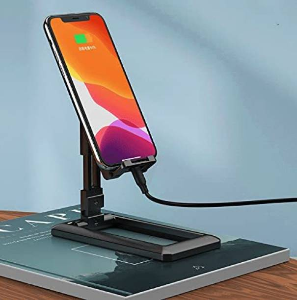GoRogue Height & Angle Adjustable Desk Cellphone Holder for All Mobiles & Tablets, Universal Foldable Dock Stand Mobile Holder