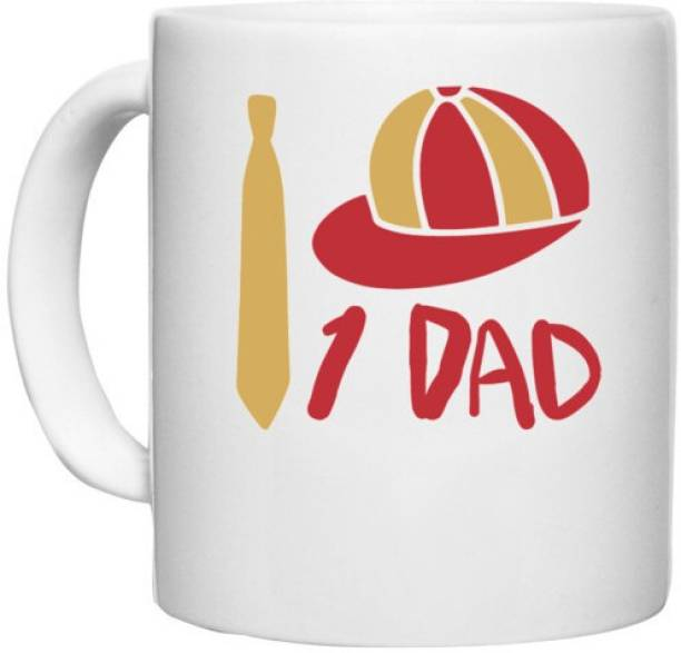 UDNAG White Ceramic Coffee / Tea 'Dad Father   1 Dad,' Perfect for Gifting [330ml] Ceramic Coffee Mug