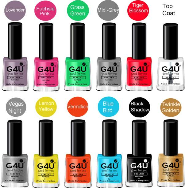 G4U Nail Paint Combo Quick Dry Healthy Nail Paint and Ideal Gift for Her 8 Ml Each Lavender, Vermilion, Fuchsia Pink, Yellow, Night Black, Vegas Night, Top Coat, Twinkle Golden, Green Grass, Mid-Grey, Forever Blue