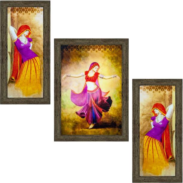 Indianara Set of 3 Dancing Village Women Folk Framed Art Painting (2563EBY) without glass (6 X 13, 10.2 X 13, 6 X 13 INCH) Digital Reprint 13 inch x 10.2 inch Painting