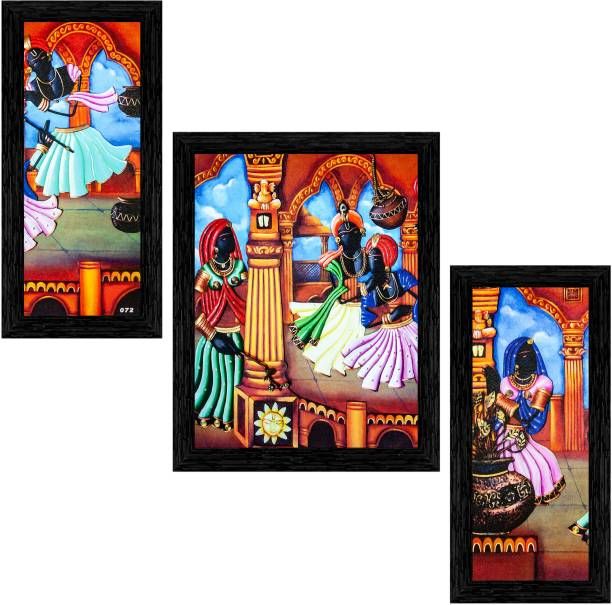 Indianara Set of 3 Folk Framed Art Painting (2101BK) without glass (6 X 13, 10.2 X 13, 6 X 13 INCH) Digital Reprint 13 inch x 10.2 inch Painting
