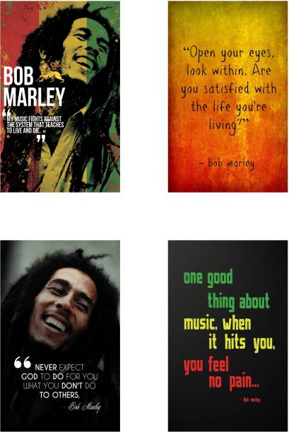 Bob Marley Combo Poster set of Four Posters - Bob Marley Poster for Room - Bob Marley Wall Poster Paper Print