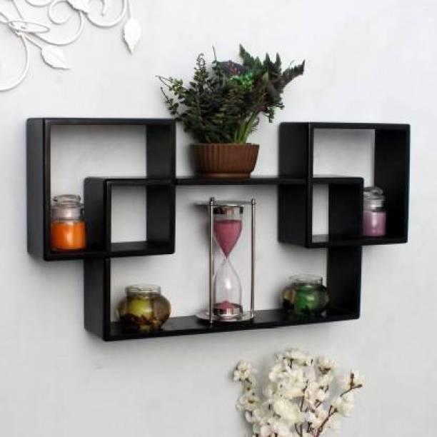 woodinto Interlock Wall Mount Wall Shelf Three Shelves for Living Room Solid Wood Display Unit