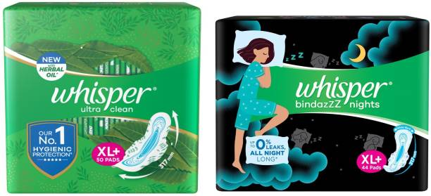 Whisper Ultra Clean 50s plus NightsXL 44s (Day and Night Pack) Sanitary Pad
