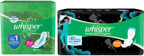 Whisper Ultra Clean 50s plus Nights XXXL+ 10s (Day and Night Pack) Sanitary Pad