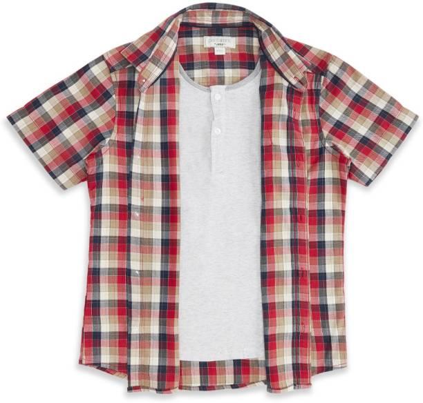 Pantaloons Junior Boys Printed Casual Red Shirt