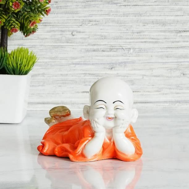Royalbox Cute Child Monk Showpiece Laughing Baby Buddha Set of 1 Decorative Showpiece  -  17 cm