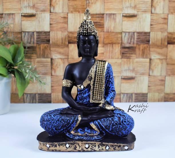 KashiKraft Buddha Statue   Meditating Buddha   Idol   Showpiece  God Idol   Handicraft   Statue   Decorative Showpiece for Home   Living Room   Office   Pooja Room   Office   Gift   Blue (Height 21cm) Decorative Showpiece  -  21 cm