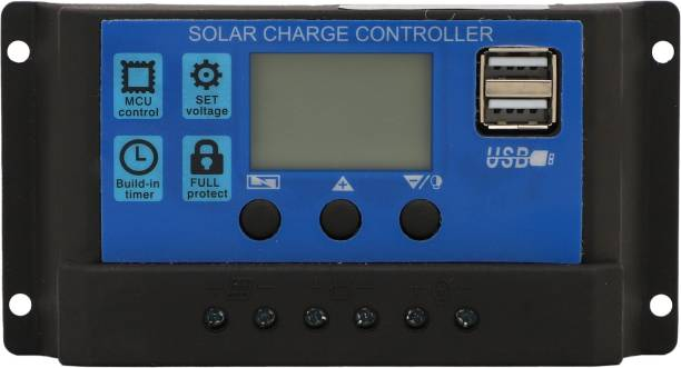 sunkart Solar Charger Controller 50 Ampere, Intelligent Battery Regulator for Solar Panel LCD Display with Dual USB Port PWM Solar Charge Controller