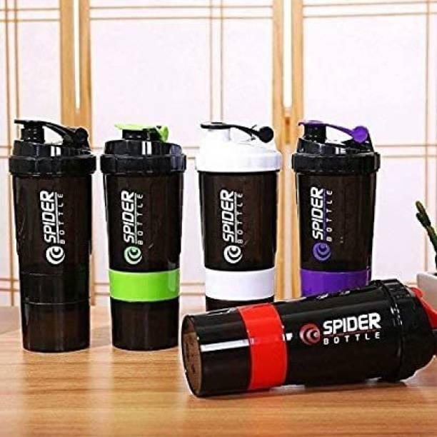 Zalk Spider Unisex Gym Protein Shaker 500 ml Shaker (Pack of 3, Assorted, Plastic) 500 ml Shaker