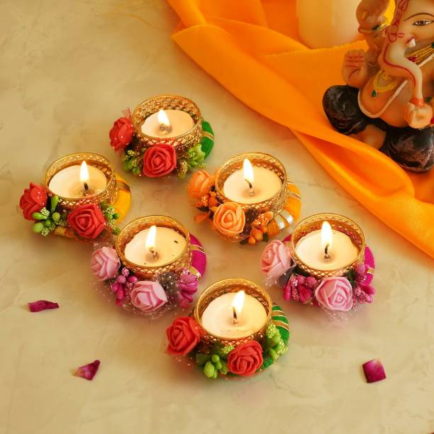 TIED RIBBONS Set of 6 Decorative Artificial Flowers Diya Tealight Candle Holder with Tealights for Home Office Pooja Room Temple Diwali Rangoli Christmas Decoration Item Brass, Cotton 6 - Cup Tealight Holder Set
