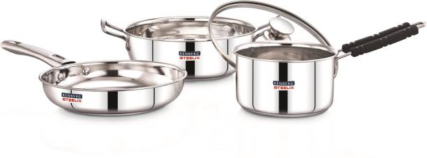 Renberg by 8904389600009 Steelix Plus including Kadai with Glass Lid, Fry Pan and Saucepan Induction Bottom Cookware Set