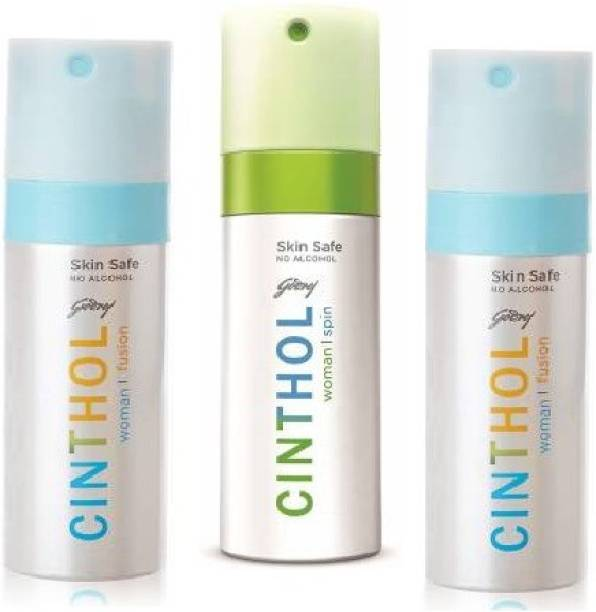 Cinthol 2 Fusion 1 Spin Pack of 3 150ml Each Deodorant Spray  -  For Women