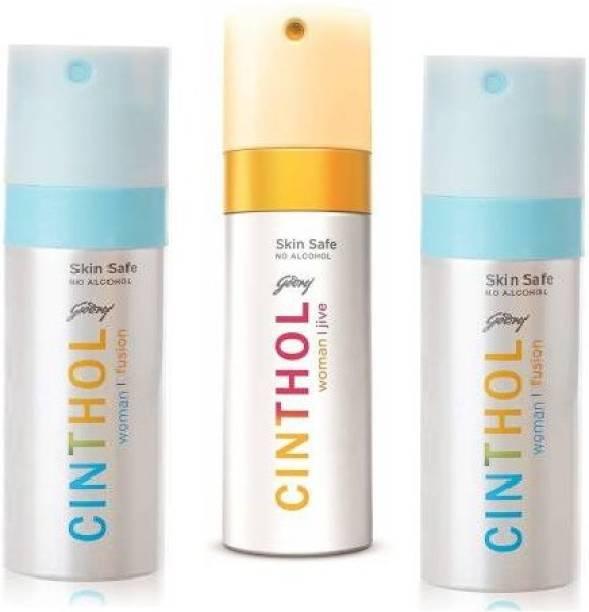 Cinthol 2 Fusion 1 Jive Pack of 3, 150ml Each Deodorant Spray  -  For Women