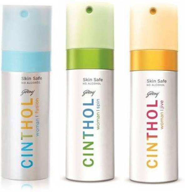 Cinthol Women Deo Spray Spin Jive ,fusion,Spin Combo (Pack of 3) Deodorant Spray - For Women (450 ml, Pack of 3) Body Spray  -  For Women