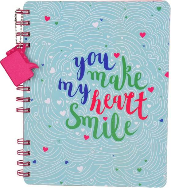 doodle Happy in Love Stop Wiro Notebook WIth Dangler Regular Diary Ruled 160 Pages