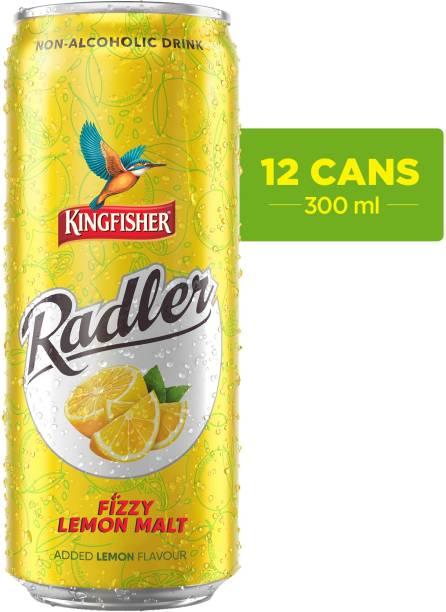 Kingfisher Radler Non Alcoholic Malt Drink - Lemon, 12x 300 ml Can (24 x 0.3 L) Energy Drink