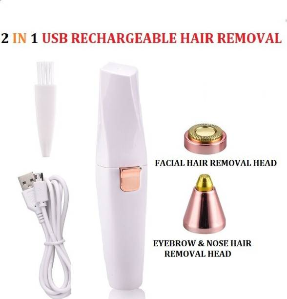 Flying monk 2 in 1 Lipstick Shape Electronic Facial Hair Eyebrow Hair Remover Shaver Waxing For Women- Rechargeable With USB Cable Strips