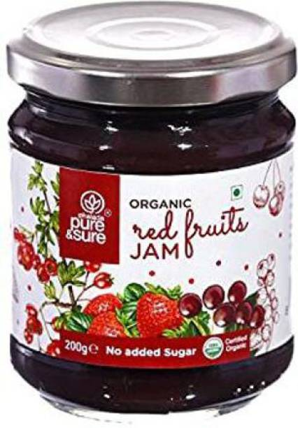 Pure & Sure Organic Jam | Flavour - Red Fruit |Vegan Bread Spread, Natural Sugar Fruit Jam | Healthy Snacks for Weight Loss - 210g (Pack of 1) 210 g