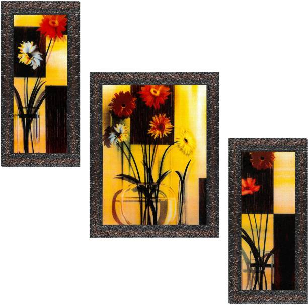 Indianara Set of 3 Flowers in Vases Framed Art Painting (0634GBN) without glass (6 X 13, 10.2 X 13, 6 X 13 INCH) Digital Reprint 13 inch x 10.2 inch Painting