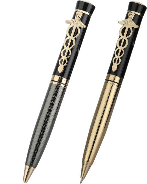 """SCRIZ """"Pair & Set Collection"""" Exclusive Medical Clip Brass & Gold Plated Body Ball Pen (Pack Of 2) Ball Pen"""