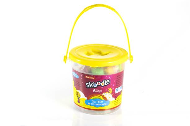 SKOODLE Vibrant Multi Color 6 Shades Glitter Dough Set With 3 Toys Inside The Reusable Bucket, Developing Eye- Hand Coordination, Gift Set For Boys And Girls (6 Shades X 25gms Each Shade) Multicolor Putty Toy