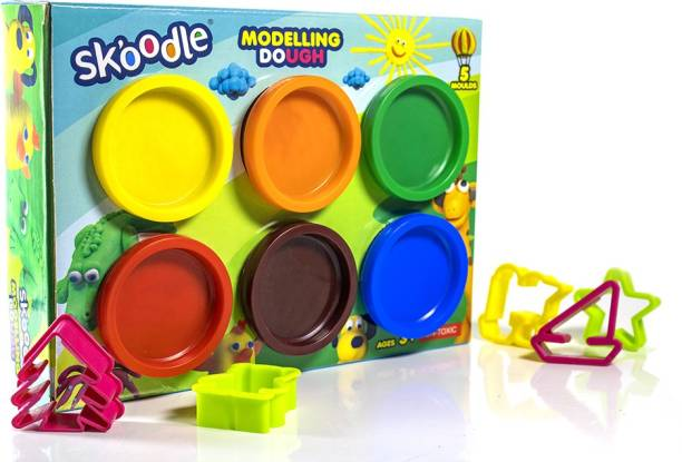 SKOODLE Vibrant Multi Color 6 Shades Modelling Dough With 8 Moulds Inside, Developing Fine Motor Skills And Eye- Hand Coordination, Gift Set For Boys And Girls (6 Shades X 50gms Each Shade) Multicolor Putty Toy
