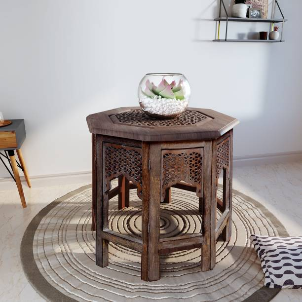 House of Pataudi Wooden Handcrafted Carved Solid Folding Grey Coffee Table Solid Wood Side Table Solid Wood Side Table