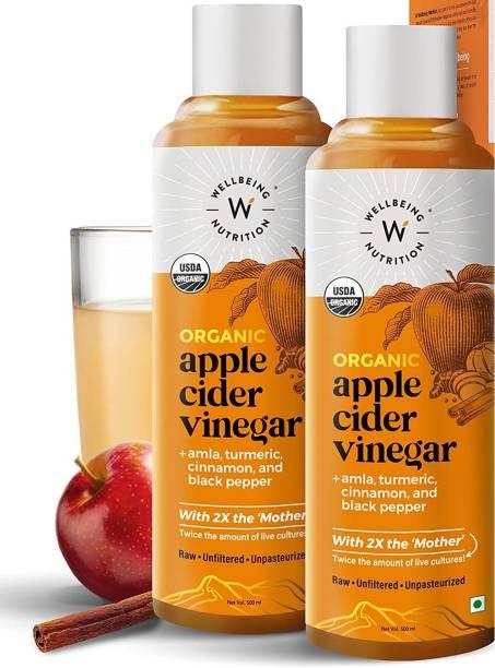 Wellbeing Nutrition USDA Organic Himalayan Apple Cider Vinegar (2X Mother) with Amla (Vitamin C for Immunity), Turmeric, Cinnamon & Black Pepper | Raw, Unfiltered, Unpasteurized Vinegar