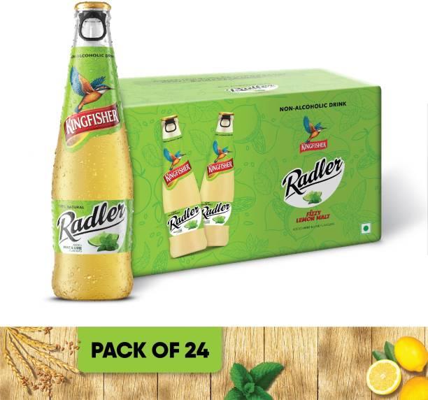 Kingfisher Radler Non Alcoholic Malt Drink Beer - Lemon and Mint Glass Bottle - Pack of 24 Glass Bottle