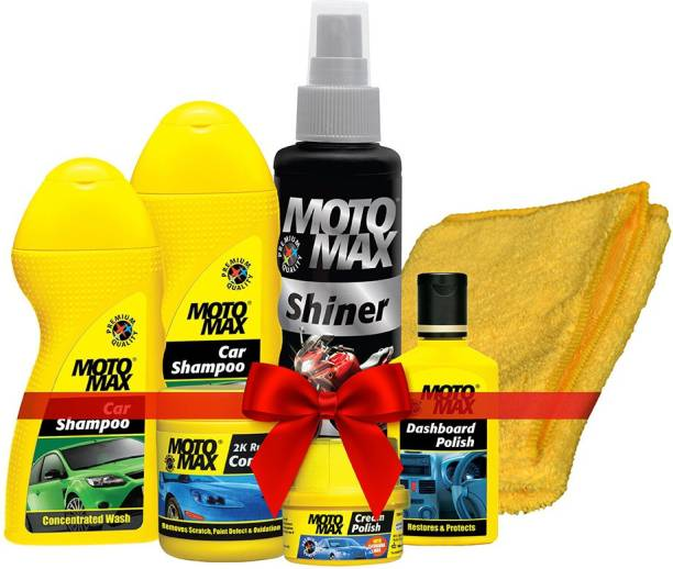 Motomax Pidilite Car Care Kit with Microfiber Cloth, Clean, Protects and Shines Interiors of Cars, Includes Cream Polish, 2K Rubbing Compound, Dashboard Polish, Car Shampoo-2N, Shiner and Buffing Cloth Combo