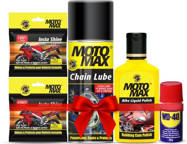 Motomax Pidilite Bike Basic Care Kit, Cleans, Protects and Shines Interiors/Exterior of Bike, Motorcyles, Includes Chain Lubricant, Instashine, WD 40 and Bike Liquid Polish Combo